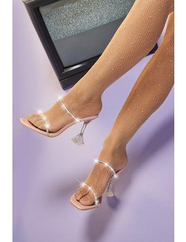 Elevated Embellished Pyramid Mule Heels In Blush by Oh Polly