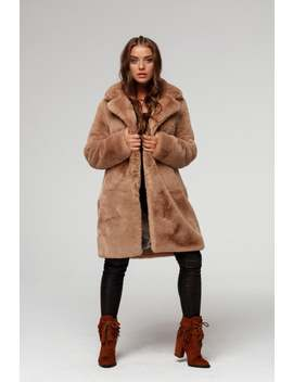 Camel Faux Fur Coat With A Classic Collar by Etsy