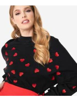 Black & Red Embroidered Hearts Sweater Crop Top by Unique Vintage