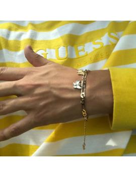 3 Tone Butterfly Charm Bracelet by Vintage  ×  Gold Bracelet  ×  Jewelry  ×