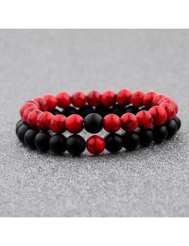 Couple His & Hers Distance Healing Bracelet Black Red Lava Bead Matching Yin Yang by Dou Vei