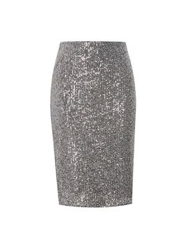 Grey Sequin Pencil Skirt by Dorothy Perkins