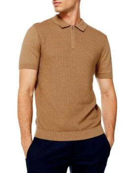 Camel Short Sleeve Zip Polo Shirt by Topman