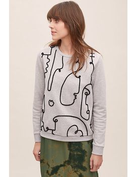 Holly Embroidered Face Sweatshirt by Anthropologie