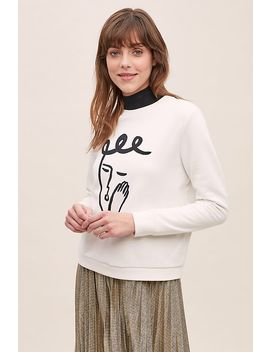 Sleeping Face Print Sweatshirt by Anthropologie