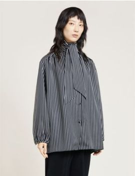 Striped Tie Neck Woven Shirt by Balenciaga