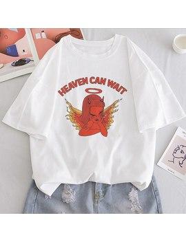 Le Ciel Peut Attendre Ange Fille Imprimer T Shirt Femmes Décontracté Ulzzang Esthétique Amusant Streetwear T Shirt Hauts à Manches Courtes Femme T Shirt by Ali Express.Com