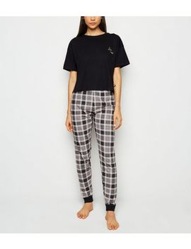 Black Check Love Slogan Pyjama Set by New Look