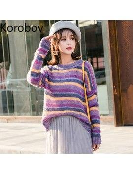 Korobov Femmes Chandail Automne Nouveau Mohair Coloré Rayé Patchwork Coréen Pulls Vintage Tricoté Sueter Mujer 78256 by Ali Express.Com