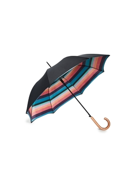 Double Canopy Interior Stripe Umbrella In Black by Paul Smith