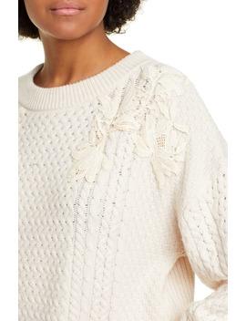 Lace Appliqué Crewneck Sweater by Rebecca Taylor