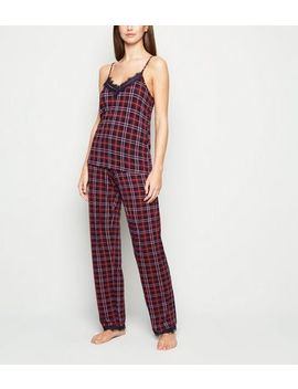 Tall Red Check Lace Trim Pyjama Trousers by New Look