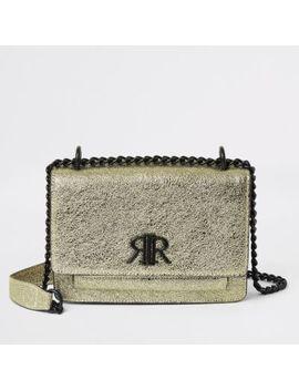 Gold Textured Ri Underarm Satchel Bag by River Island