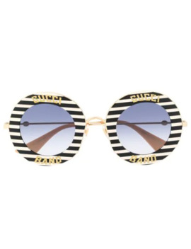 Striped Round Frame Sunglasses by Gucci Eyewear