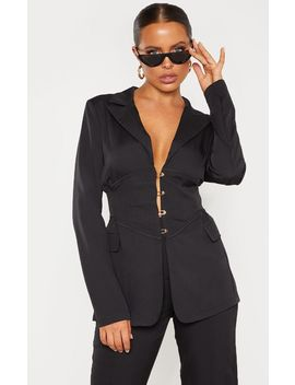 Black Corset Woven Blazer  by Prettylittlething