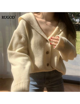 Rugod Pull Col Rond Solide Simple Boutonnage Manches Longues En Vrac Point Ouvert Tricoté Chandails Mujer Pull Femme Hiver 2019 Hiver by Ali Express.Com