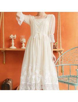 Kokuko   Lace Trim Elbow Sleeve Midi A Line Dress by Kokuko