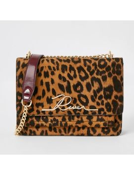 Brown Leopard Print 'river' Satchel Bag by River Island