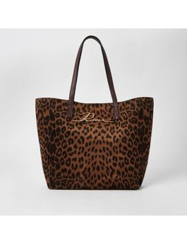 Brown Leopard Print 'river' Shopper Tote Bag by River Island