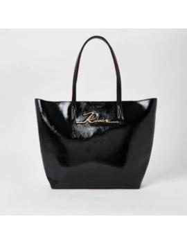 Black Patent 'river' Shopper Tote Bag by River Island