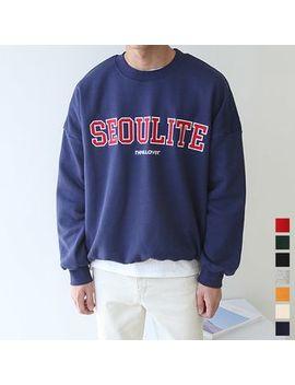 "Seoul Homme   ""Seoulite"" Appliqué Fleece Lined Oversized Sweatshirt by Seoul Homme"