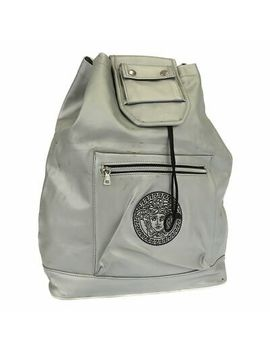 Gianni Versace Back Pack Shoulder Day Bag Medusa Silver Used by Gianni Versace