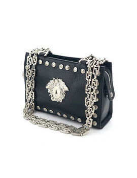 Gianni Versace Medusa Shoulder Bag Silver Chain Black Leather #628 by Gianni Versace