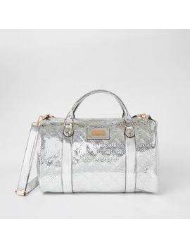 Silver Ri Embossed Weekend Duffle Bag by River Island
