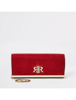 Red Suedette Rir Baguette Clutch Bag by River Island