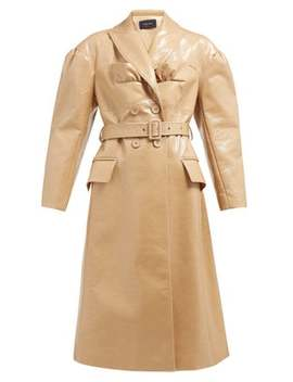 Double Breasted Laminated Wool Blend Coat by Simone Rocha