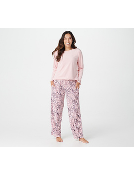 Carole Hochman Petite Silky Velour Fleece Crew Neck Novelty Pj Set by Carole Hochman