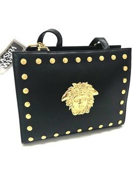 Authentic Gianni Versace Medusa Studs Tote Bag Shoulder Bag Black Leather by Gianni Versace