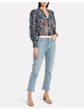 Isadora Floral Silk Georgette Blouse by Ulla Johnson
