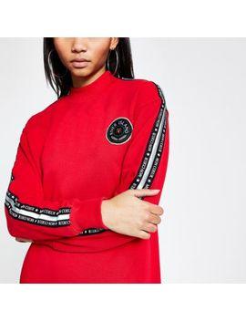 Red Printed Tape Sleeve Longline Sweatshirt by River Island