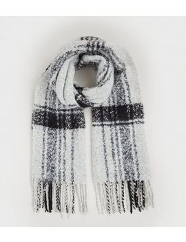 Grey Check Bouclé Knit Scarf by New Look