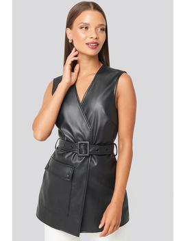 Belted Pu Vest Black by Karokauerxnakd