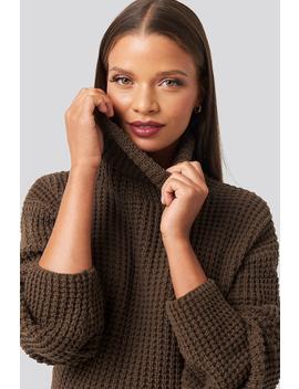 High Neck Knitted Sweater Brown by Karokauerxnakd