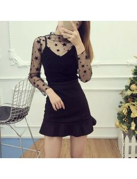 Women Turtle Neck See Through Top Sheer Mesh Blouse Long Sleeve T Shirt Tee by Ebay Seller
