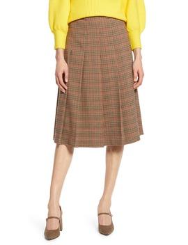X Atlantic Pacific Check Pleat Midi Skirt by Halogen