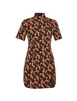 Black Satin Floral Oriental Button Detail Bodycon Dress by Prettylittlething