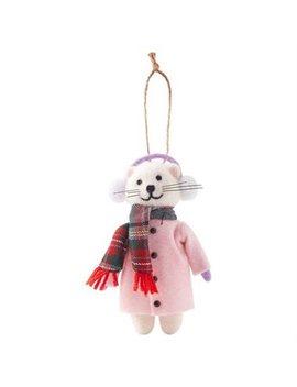 Xmas Winter Cat Wool Ornament by Indigo