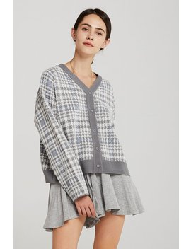 Julia Plaid Houndstooth Cardigan by Storets