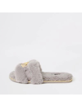 Grey Faux Fur Mules Slippers by River Island