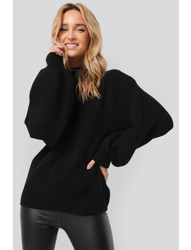 High Neck Big Sleeve Knitted Sweater Noir by Na Kd