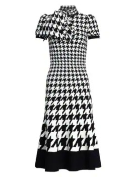 Houndstooth Fit & Flare Silk Midi Dress by Alexander Mc Queen