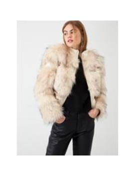 River Island Faux Fur Panelled Short Jacket  Cream by River Island