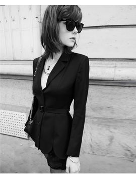 Black Wool Suit Jacket With Belt And Openings by The Kooples