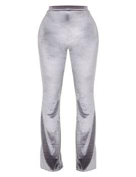 Shape Grey Velvet Flared Trouser  by Prettylittlething