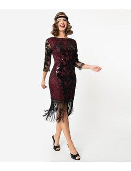 Unique Vintage 1920s Burgundy & Black Sequin Cocktail Celeste Flapper Dress by Unique Vintage