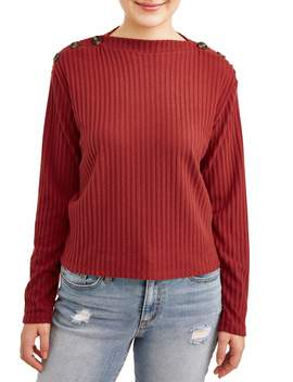 Poof! Juniors' Brushed Rib Knit Button Shoulder Sweater by Poof Apparel